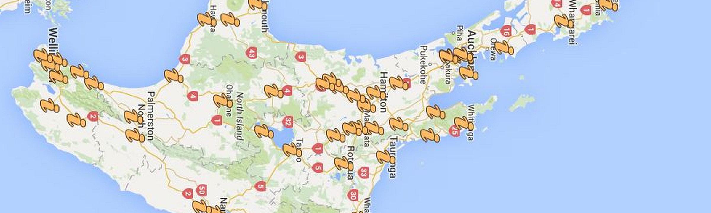 Übersicht über die iSites auf der Nordinsel Neuseelands