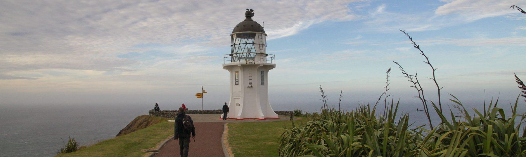 Leuchturm von Cape Reinga an der Nordspitze Neuseelands