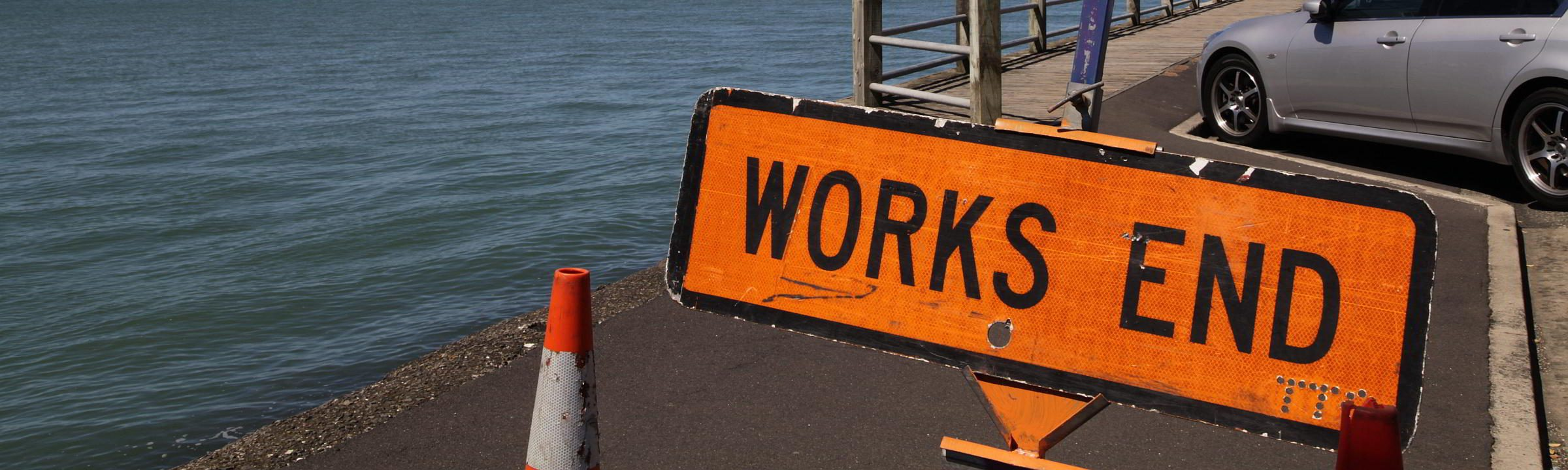 Works End Schild auf Neuseeland