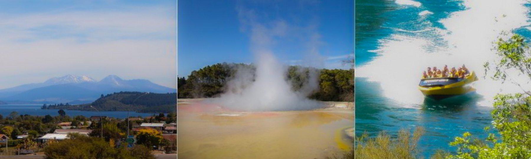 Vulkane und dampfende Erde Volcanic Country auf Neuseeland