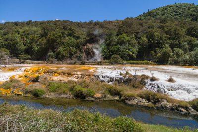 Kalkterassen in unterschiedlichen Farben - Waimangu Volcanic Valley