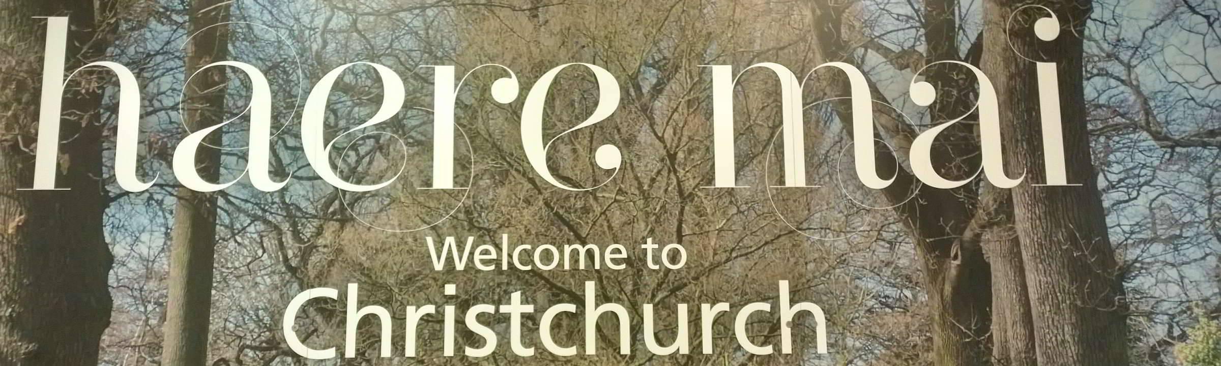 Willkommensschild am Flughafen Christchurch Neuseeland