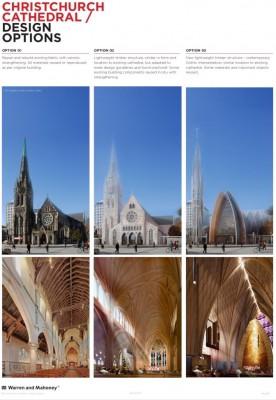 drei mögliche Optionen für den Wiederaufbau der Kathedrale in Christchurch