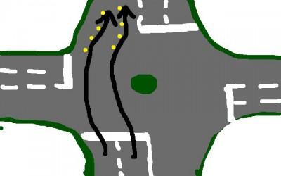 geradeaus fahren im Kreisverkehr