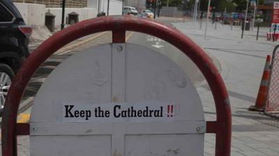 Aufkleber für den Erhalt der Kathedrale in Christchurch