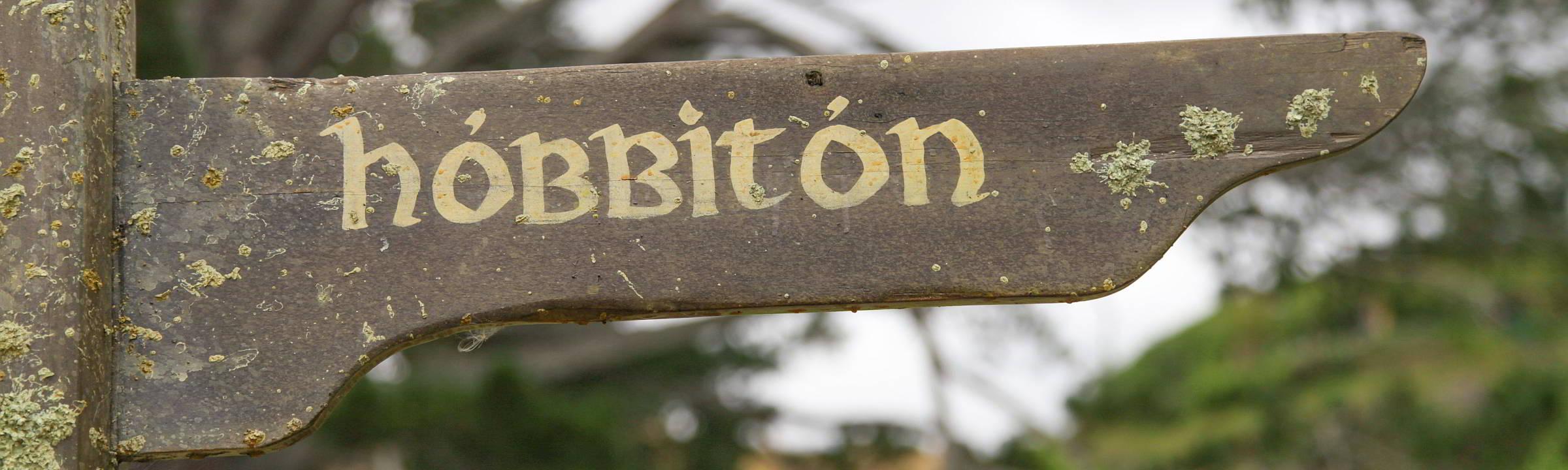 Schild Hobbingen in Matamata auf Neuseeland