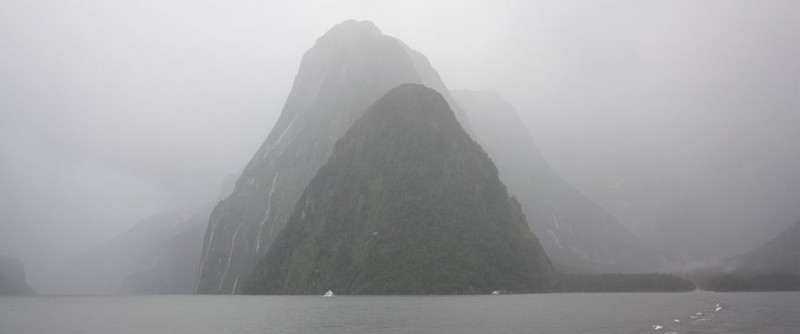 Steile Hänge am Milford Sound