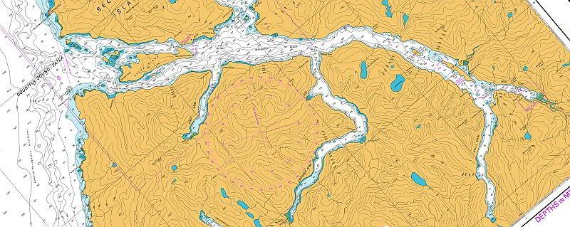 Maritime Karte des Doubtful Sound