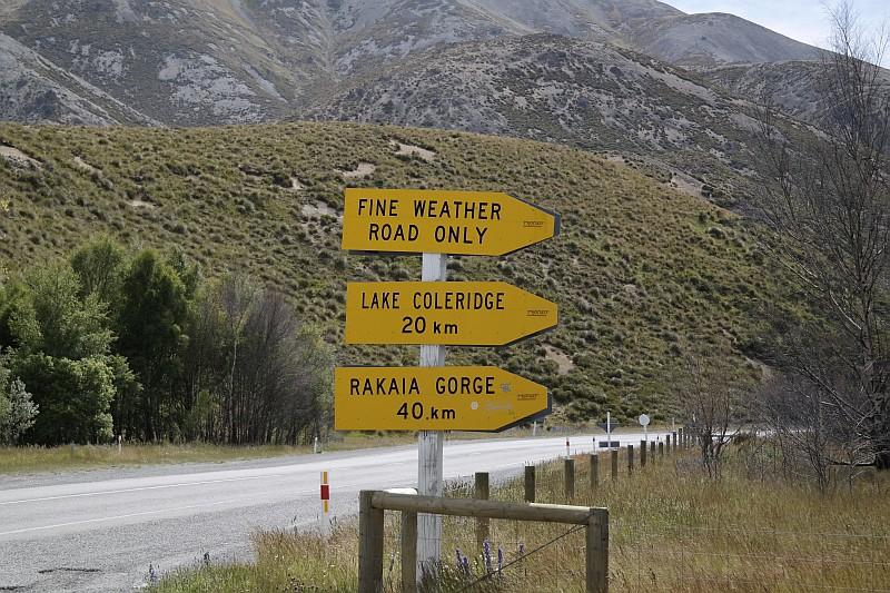 Die nördliche Zufahrt zum Lake Coleridge - nur für gutes Wetter!