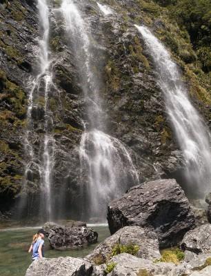 frisches Wasser zum Trinken - direkt an den Earland Falls auf dem Routeburn Track