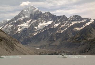 Mount Cook, Hooker Lake und eine Gletscherzunge