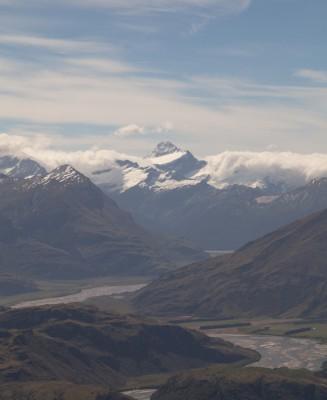 Der Gipfel von Mt. Aspiring fast wolkenfrei