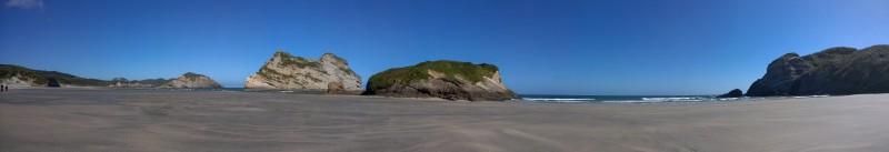 Panorama der Wharariki Beach