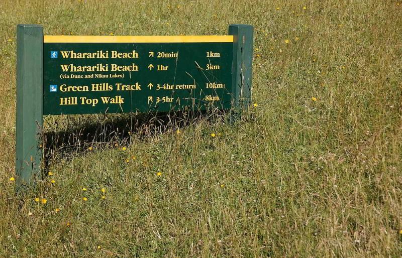 Wegweiser zur Wharariki Beach