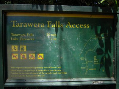 Wegbeschreibung zum Tarawera Wasserfall