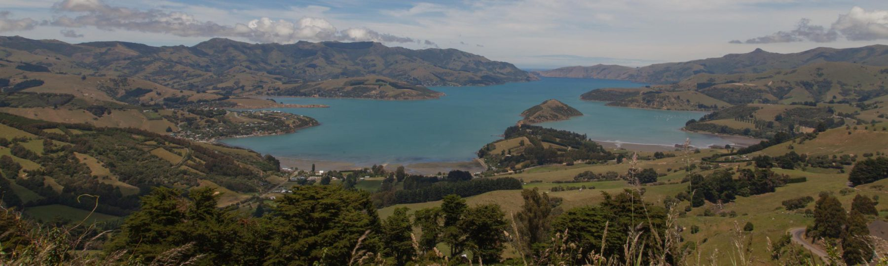 Panoramablick auf Akaroa