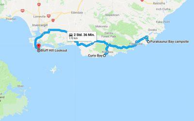 Reiseroute Bluff nach Catlins