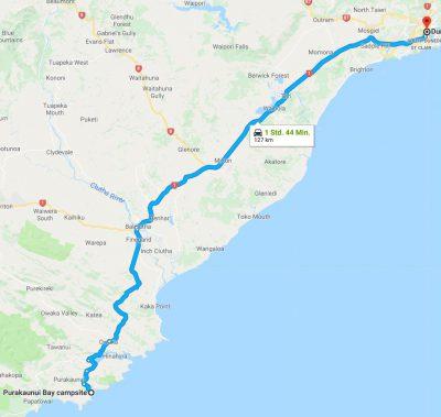 Reiseroute Catlins nach Dunedin