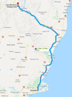 Reiseroute Dunedin nach Lake BenmoreReiseroute Lake Benmore nach Mount Cook