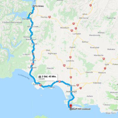 Reiseroute Te Anau nach Bluff