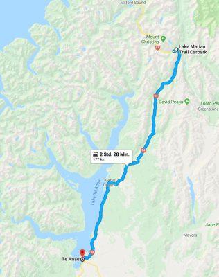 Reiseroute Te Anau nach Lake Marian und zurück