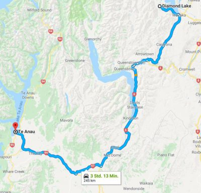 Reiseroute Wanaka nach Te Anau