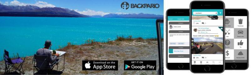 Backpario App für Google und Apple