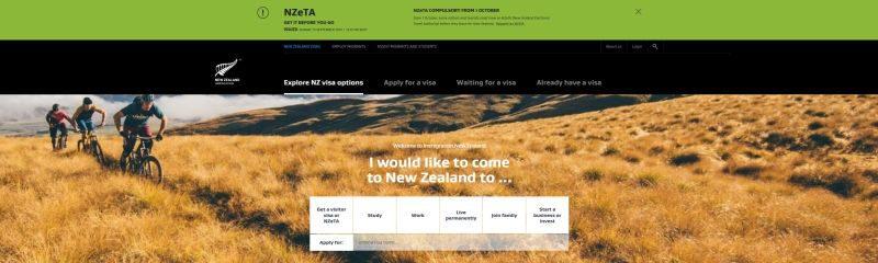 Internetseite der NZ Immigration