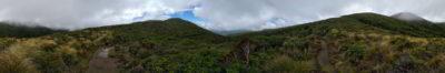 Vom Plateau aus hat man eine schöne Fernsicht zum Meer und - bei gutem Wetter - zum Mount Taranaki