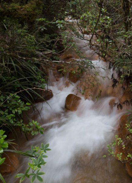 Ein Fluss fließt über ein oranges Flussbett zu Tal